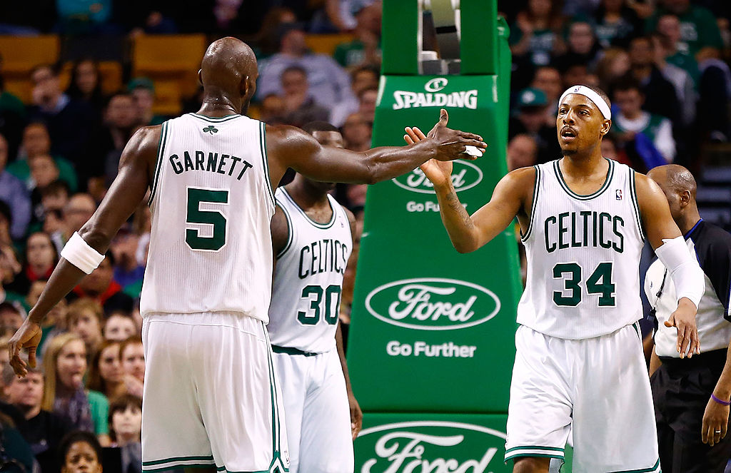 Paul Pierce and Kevin Garnett on the court in Boston. (Photo by Jared Wickerham/Getty Images)
