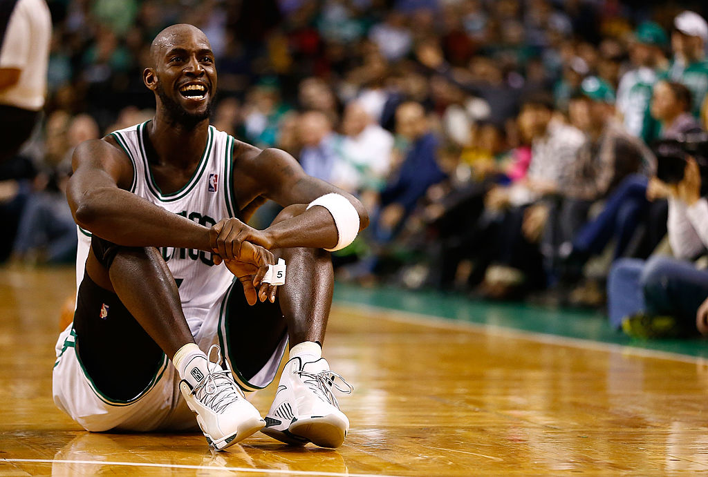 Kevin Garnett #5 of the Boston Celtics laughs off a call. (Photo by Jared Wickerham/Getty Images)