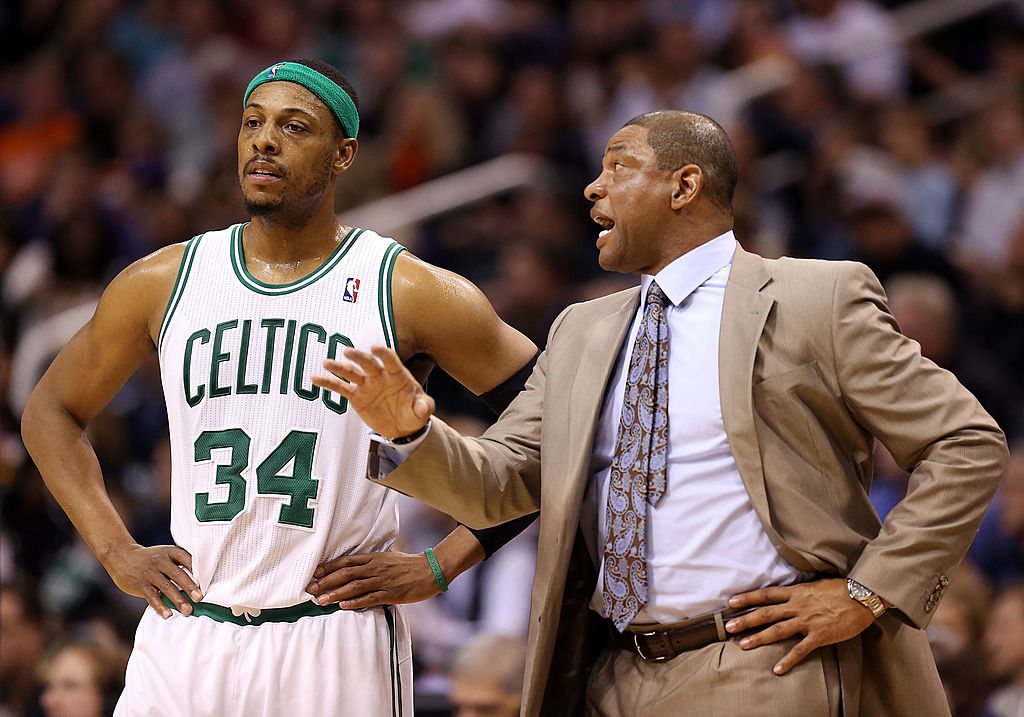 Paul Pierce and Coach Doc Rivers while they were both still in Boston. (Photo by Christian Petersen/Getty Images)