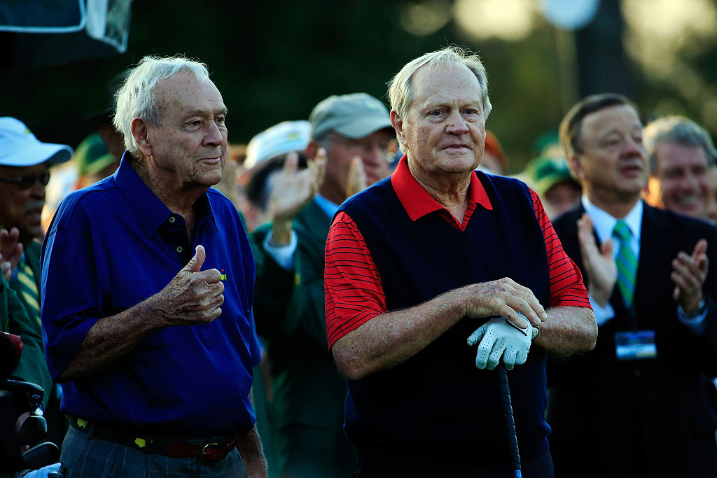 Honorary Starters Arnold Palmer and Jack Nicklaus on the first tee during the first round of the 2015 Masters Tournament at Augusta National Golf Club on April 9, 2015 in Augusta, Georgia. (Photo by Jamie Squire/Getty Images)