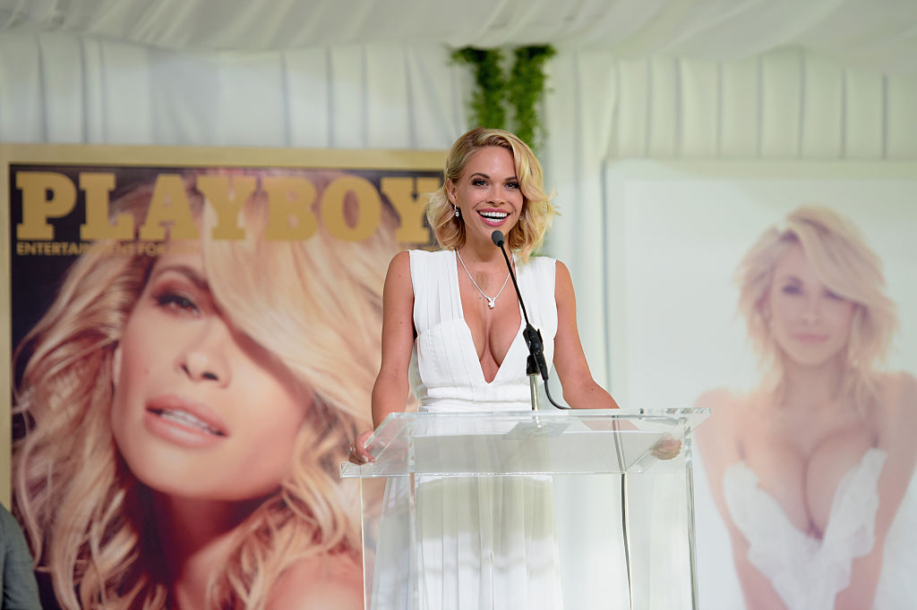 attends Playboy's 2015 Playmate of the Year Ceremony at the Playboy Mansion on May 14, 2015 in Los Angeles, California.