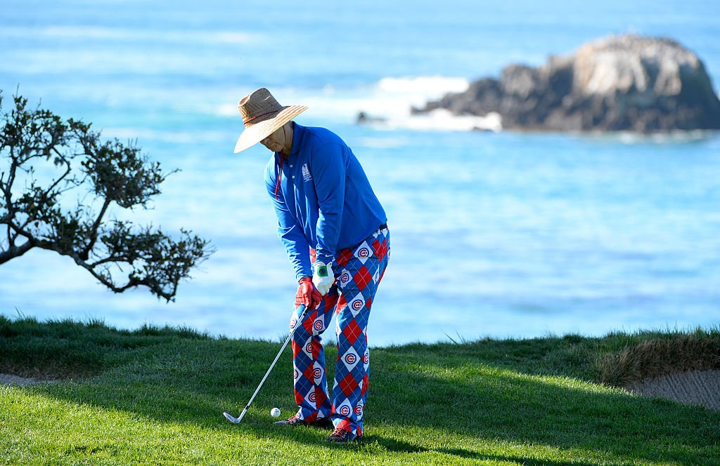 Murray plays a shot from the rough near the fourth green during round three of the AT&T Pebble Beach National Pro-Am in Pebble Beach, California. (Photo by Robert Laberge/Getty Images)