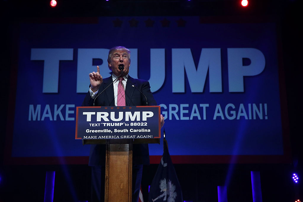 Donald Trump speaks to voters during a campaign event February 15, 2016 in Greenville, South Carolina. (Getty Images)
