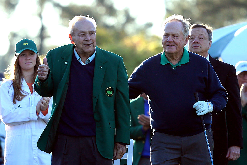 Honorary starters Arnold Palmer and Jack Nicklaus at the ceremonial tee off to start the first round of the 2016 Masters Tournament at Augusta National Golf Club. (Photo by Andrew Redington/Getty Images)