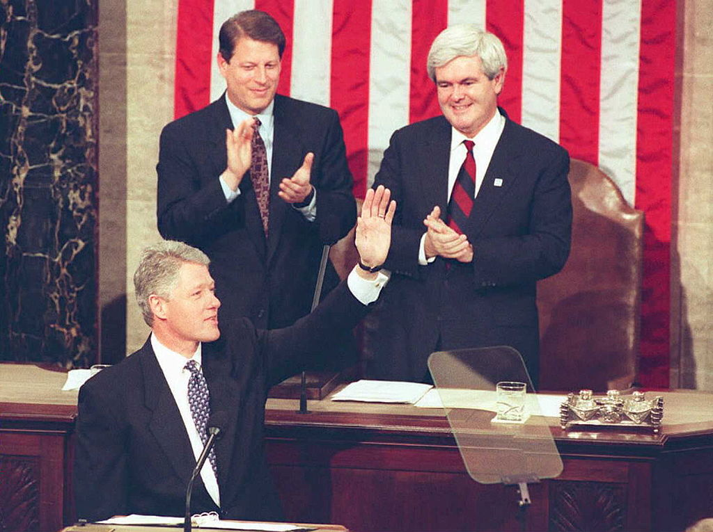 Bill Clinton waves to members of Congress second State of the Union address in 1995 Getty Images)