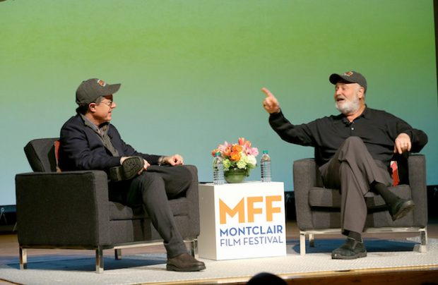 MONTCLAIR, NJ - MAY 01: Stephen Colbert (L) and Rob Reiner speak onstage at the Montclair Film Festival 2016 - Day 3 Conversations at Montclair Kimberly Academy on May 1, 2016 in Montclair, New Jersey. (Photo by Paul Zimmerman/Getty Images for Montclair Film Festival)