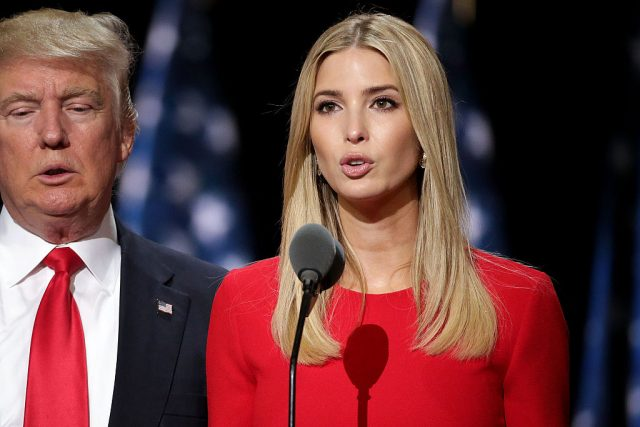 Republican presidential candidate Donald Trump and his daughter Ivanka Trump test the teleprompters and microphones on stage before the start of the fourth day of the Republican National Convention on July 21, 2016 at the Quicken Loans Arena in Cleveland, Ohio
