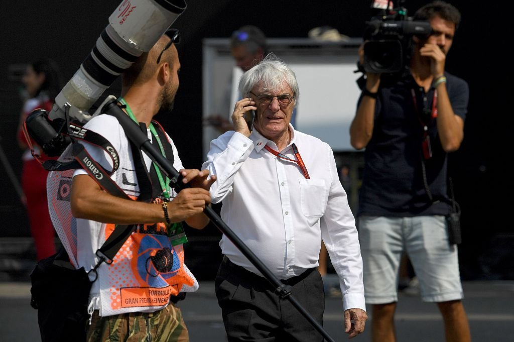 Bernie Ecclestone walks down the paddock after the first practice session at the Autodromo Nazionale circuit in Monza on September 2, 2016 (Getty Images)