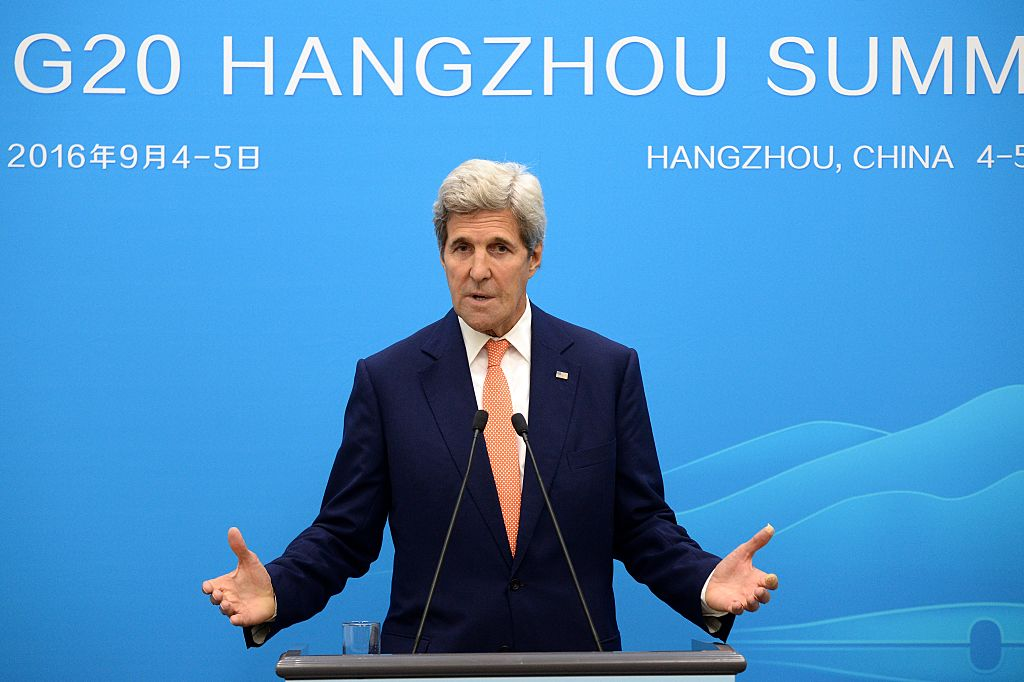 John Kerry speaks at a press conference during the 11th G20 Leaders Summit on September 4, 2016 in Hangzhou, China. World leaders are gathering for the 11th G20 Summit from September 4-5. (Getty Images)