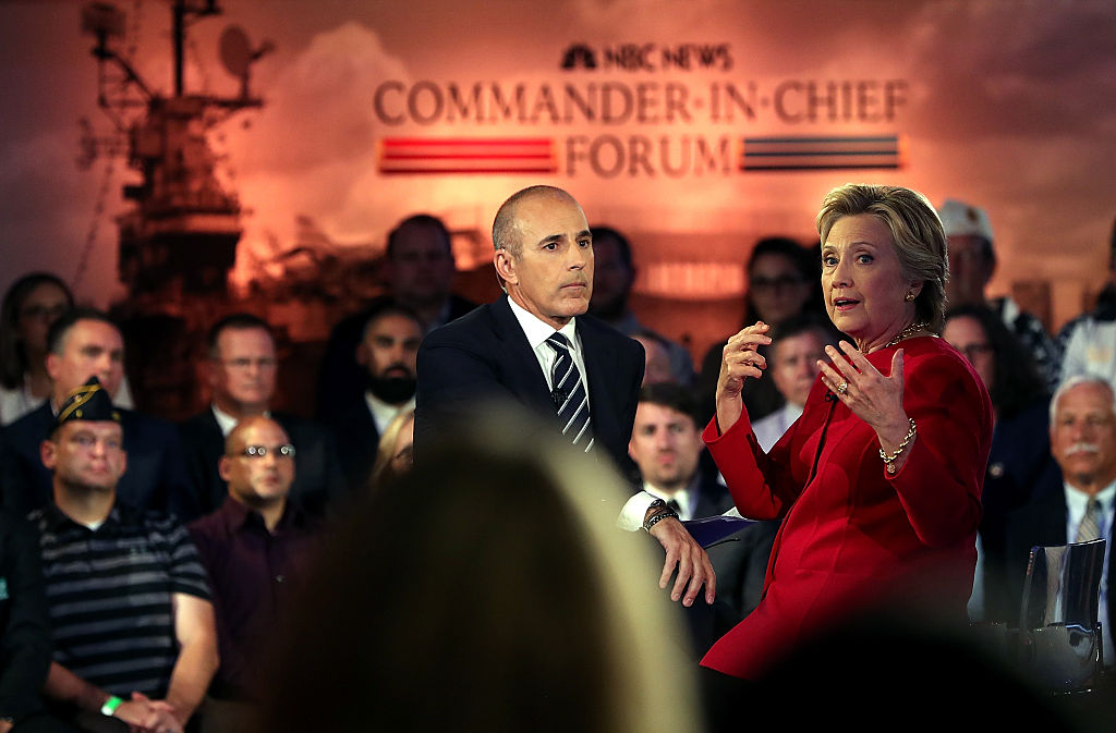 Matt Lauer looks on as Democratic presidential nominee Hillary Clinton speaks during the NBC News Commander-in-Chief Forum on September 7, 2016 (Getty Images)