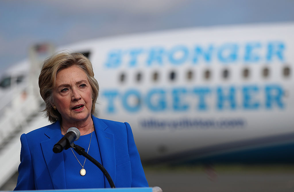 Hillary Clinton speaks to reporters on the tarmac at Westchester County Airport on September 8, 2016 (Getty Images)