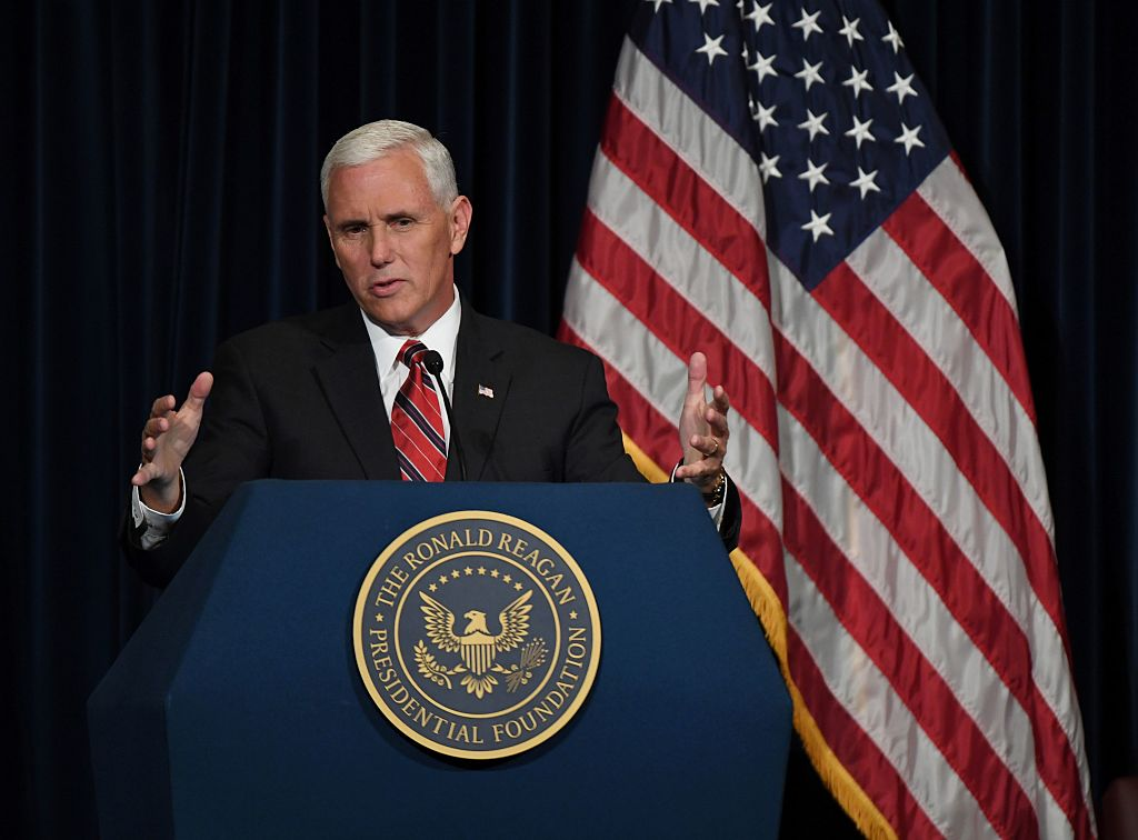 Mike Pence speaks to Republicans at the Ronald Reagan Presidential Library in Simi Valley, California on September 8, 2016. (Getty Images)