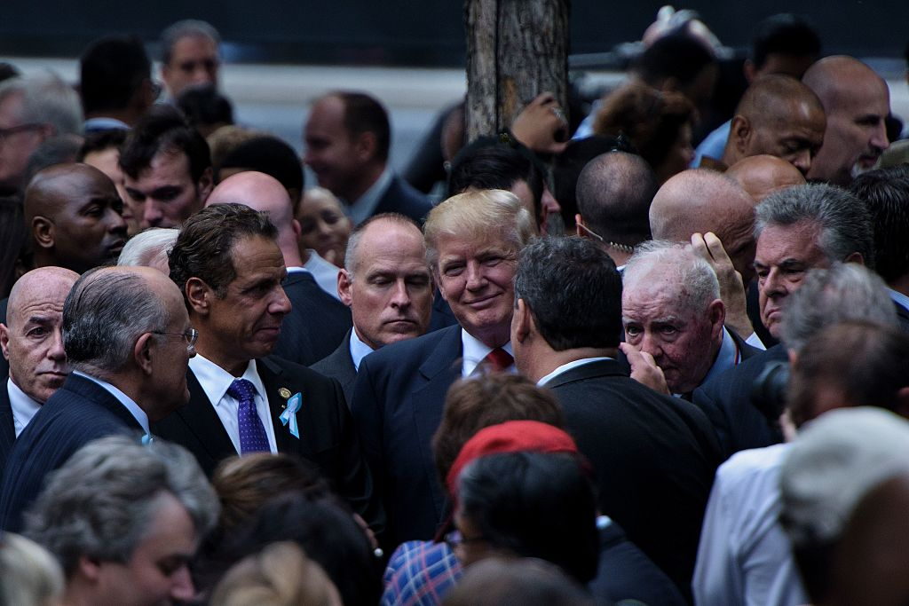 Donald Trump attends a memorial service at the National 9/11 Memorial on September 11, 2016 in New York (Getty Images)