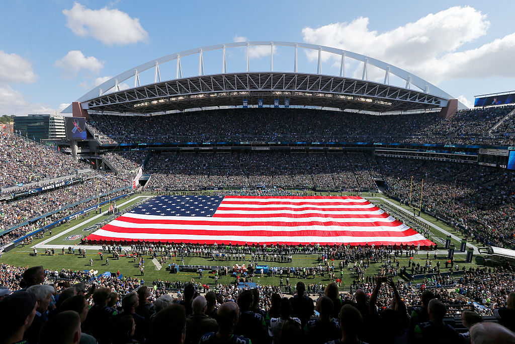 SEATTLE, WA - SEPTEMBER 11: An overall view of CenturyLink Field during the playing of the National Anthem at an NFL game between the Seattle Seahawks and the Miami Dolphins at CenturyLink Field on September 11, 2016 in Seattle, Washington. (Photo by Jonathan Ferrey/Getty Images)