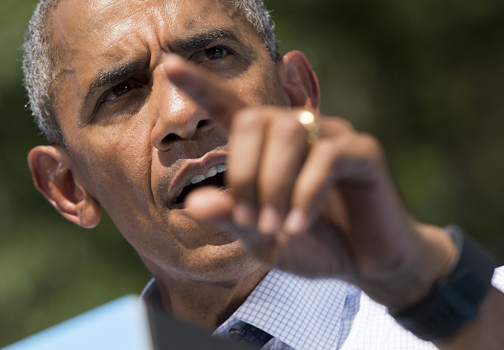 Barack Obama speaks during a rally for Democratic presidential nominee Hillary Clinton at Eakins Oval in Philadelphia on September 13, 2016 (Getty Images)