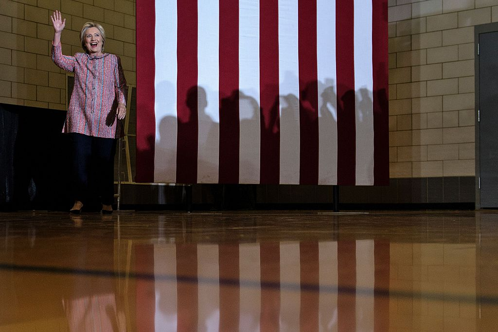 Hillary Clinton arrives for a rally at University of North Carolina at Greensboro on September 15, 2016 (Getty Images)