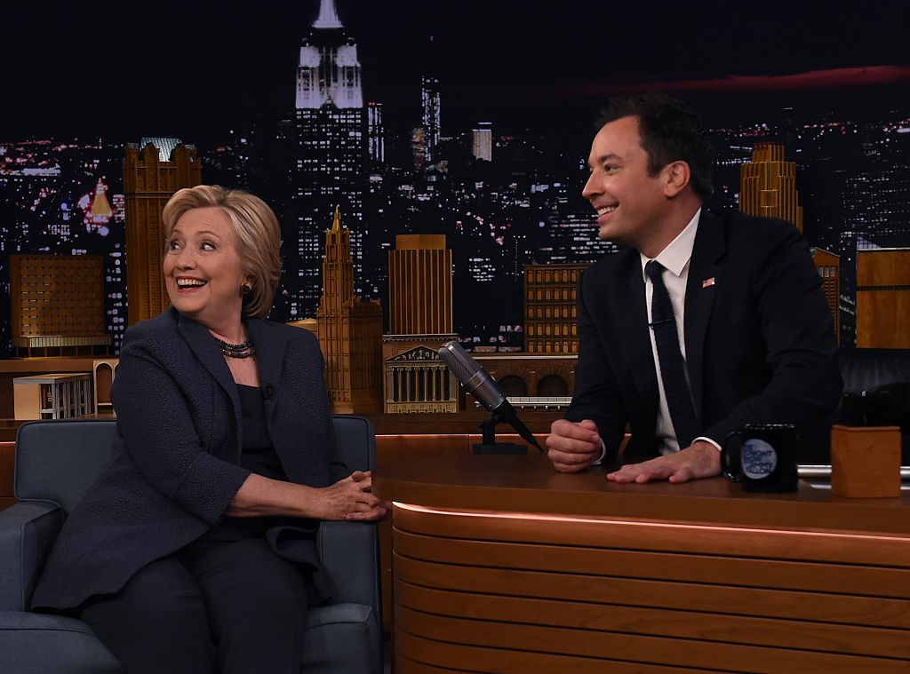 Hillary Clinton speaks with talk show host Jimmy Fallon as she attends the taping of The Tonight Show in New York, on September 16, 2016. (Getty Images)