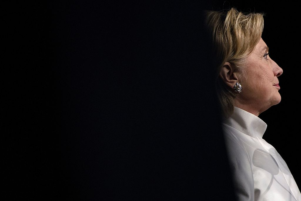 Hillary Clinton pauses while speaking during the Congressional Black Caucus Foundation's Phoenix Awards Dinner on September 17, 2016 in Washington, DC (Getty Images)