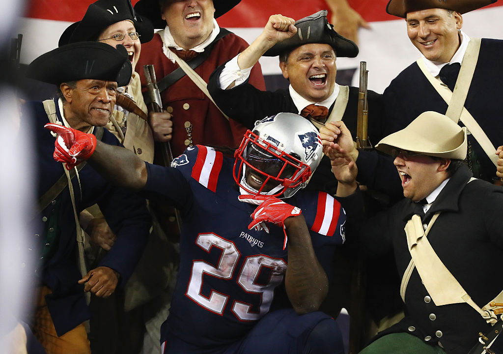 Patriots running back LeGarrette Blount celebrates a touchdown. (Photo by Adam Glanzman/Getty Images)