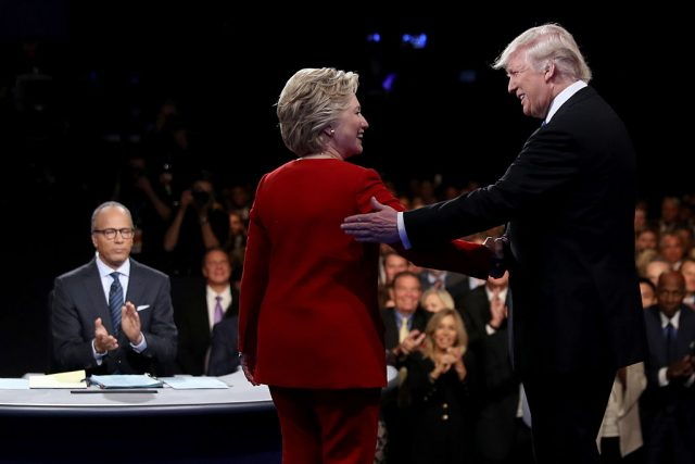 Hillary Clinton, Donald and Lester Holt onstage at the first presidential debate (Getty Images)
