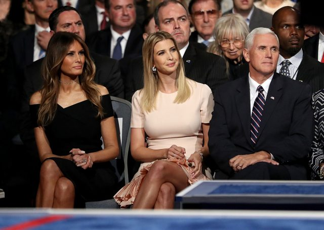 Republican presidential nominee Donald Trump's wife, Melania Trump, daughter, Ivanka Trump and Republican VIce Presidential nominee Mike Pence sit during the Presidential Debate at Hofstra University on September 26, 2016 in Hempstead, New York. The first of four debates for the 2016 Election, three Presidential and one Vice Presidential, is moderated by NBC's Lester Holt
