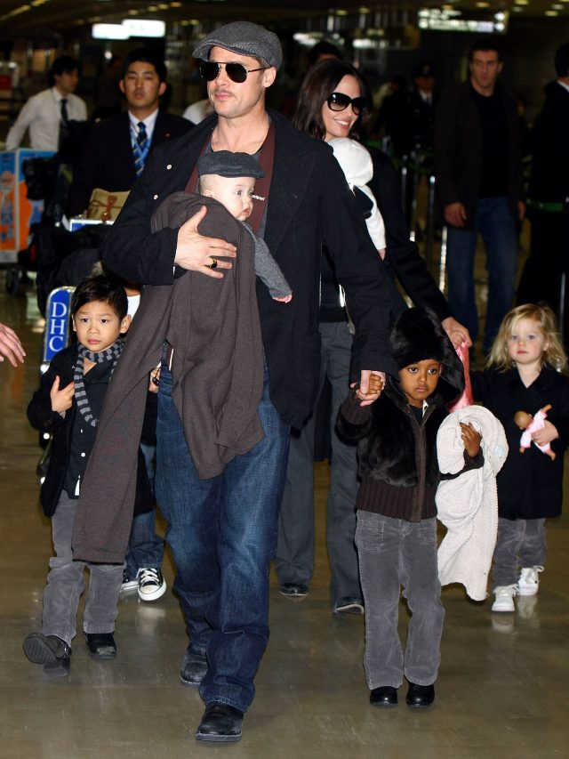 Brad Pitt and Angelina Jolie with their children. (Photo: Junko Kimura/Getty Images)