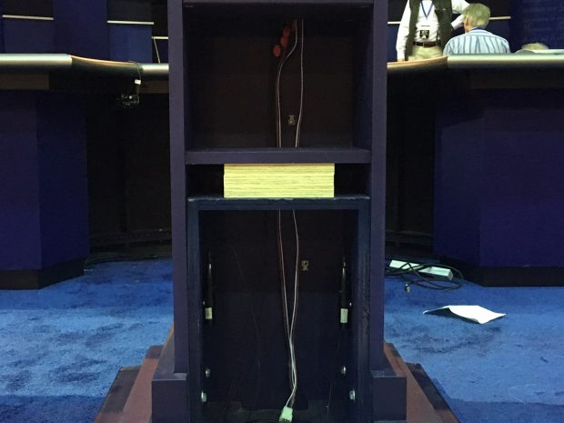 Presidential debate podium with plywood in it to heighten it, likely for Secretary Hillary Clinton at Hofstra University in Hempstead, NY. Photo: Rita Cosby/WABC Radio