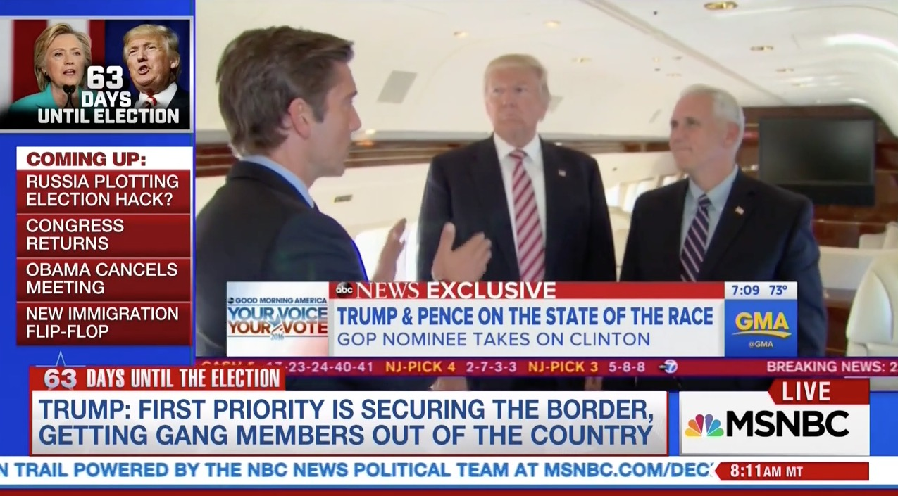 Donald Trump speaks from his plane on the morning of September 6, 2016 (MSNBC)