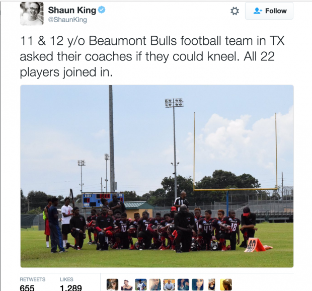 Shaun King kneel (twitter screenshot)