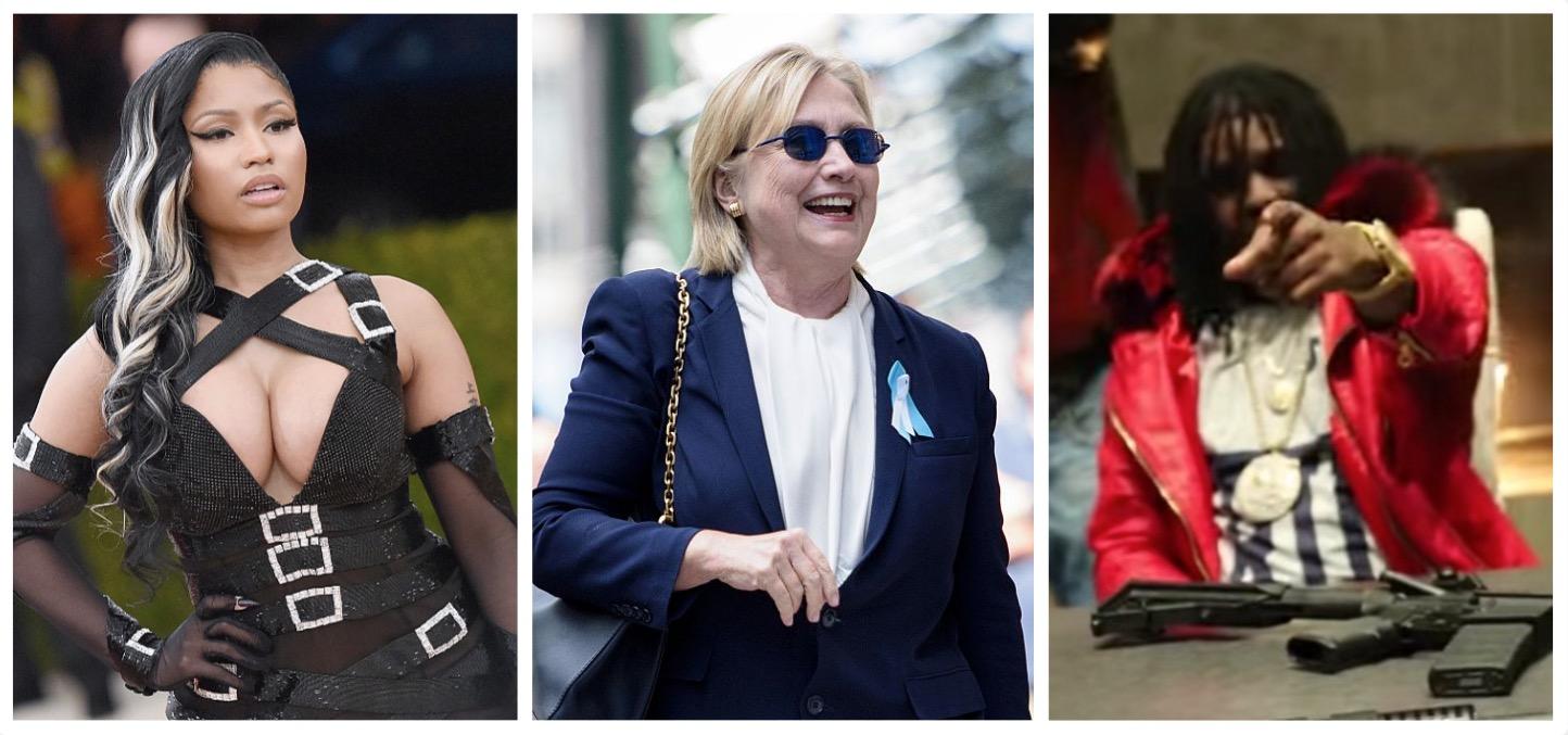 Nikki Minaj, Hillary Clinton, Chief Keef (Getty Images, YouTube)