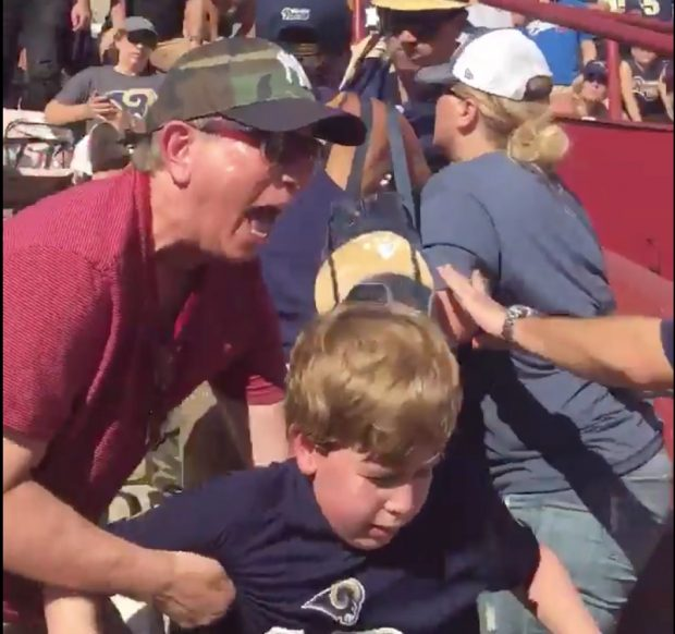 Rams/Seahawks Fight (Credit: Screenshot/Twitter Video @MichaelJordyn2)