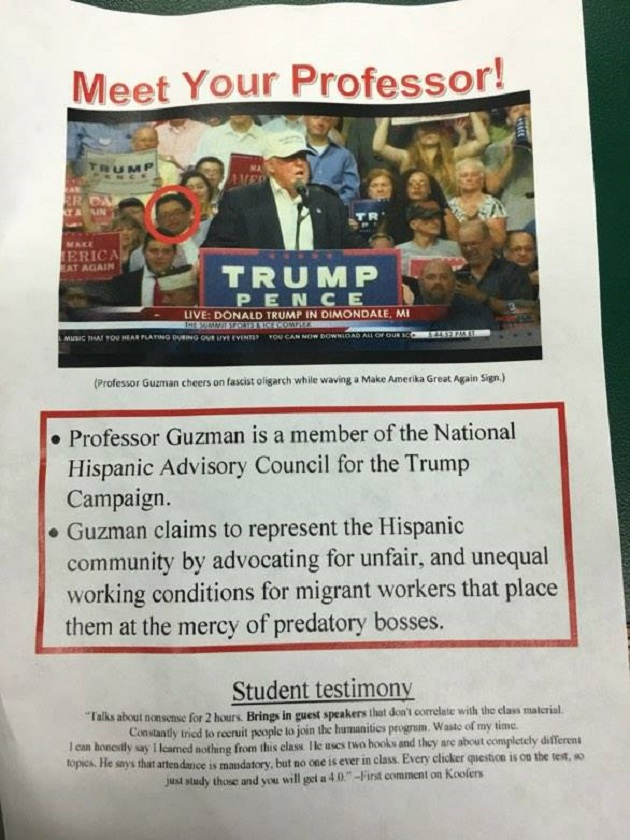 Trump flyer courtesty of Brandon Hall and WestMIPolitics
