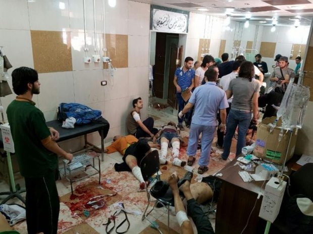 Patients in a Syrian hospital are treated on the floor due to a lack of space and increased air strikes from Bashar al-Assad's forces. Source: Union of Medical Care and Relief Organizations