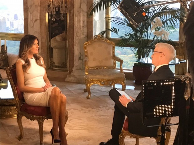 Melania Trump sits down with CNN television host Anderson Cooper during an exclusive interview. (Photo credit: CNN/Handout via REUTERS)