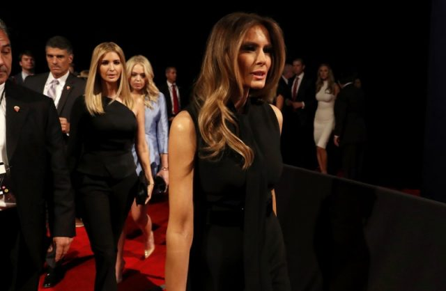 Ivanka (L), Tiffany (C) and Melania Trump (R) arrive for the start of the third and final debate between Republican U.S. presidential nominee Donald Trump and Democratic nominee Hillary Clinton at UNLV in Las Vegas, Nevada, U.S., October 19, 2016. REUTERS/Carlos Barria