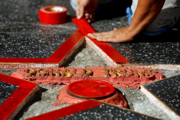 Donald Trump's star on the Hollywood Walk of Fame is fixed after it was vandalized in Los Angeles, California U.S., October 26, 2016. REUTERS/Mario Anzuoni