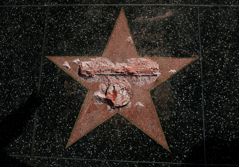 Trump's star after Otis destroyed it. (Photo credit: REUTERS/Mario Anzuoni)