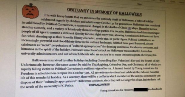The YAF mock obituary for Halloween. [Young Americans for Freedom, used with permission]