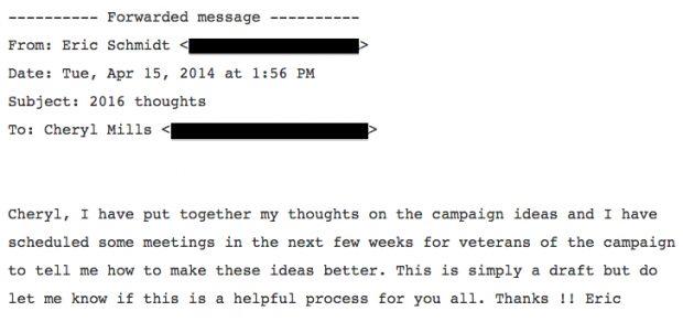Eric Schmidt Memo On Hillary Clinton Campaign