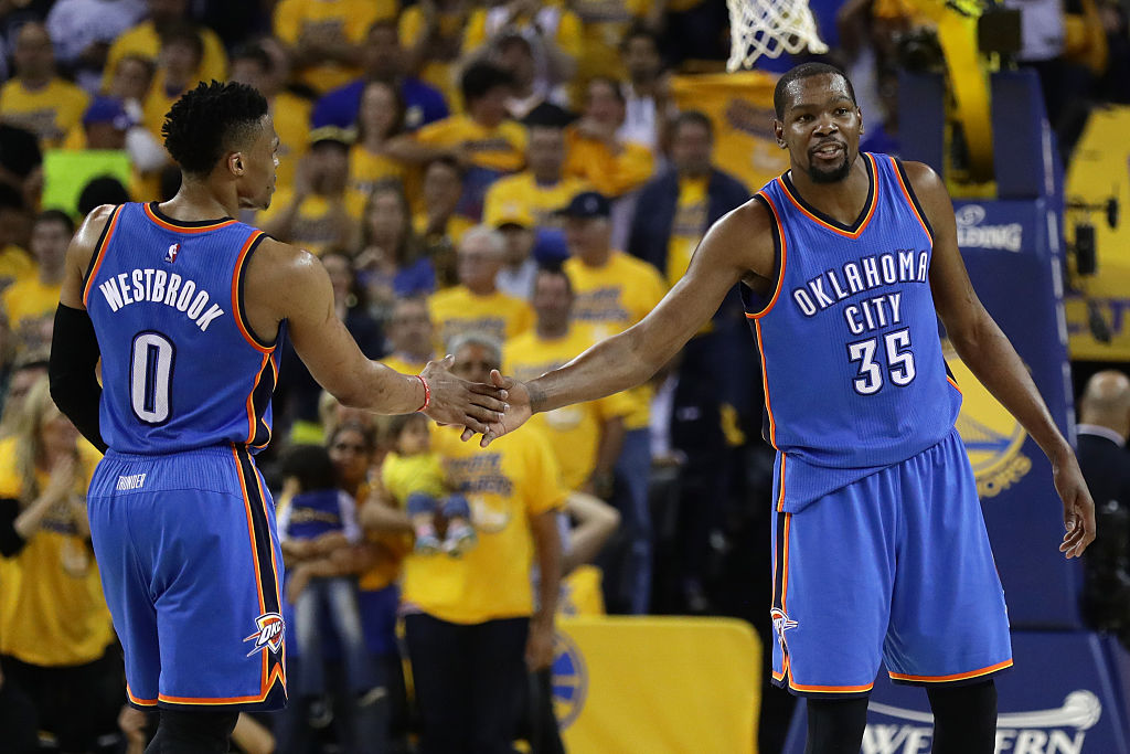 Durant and Westbrook on the court during Game Five of the Western Conference Finals against Golden State. (Photo by Ezra Shaw/Getty Images)