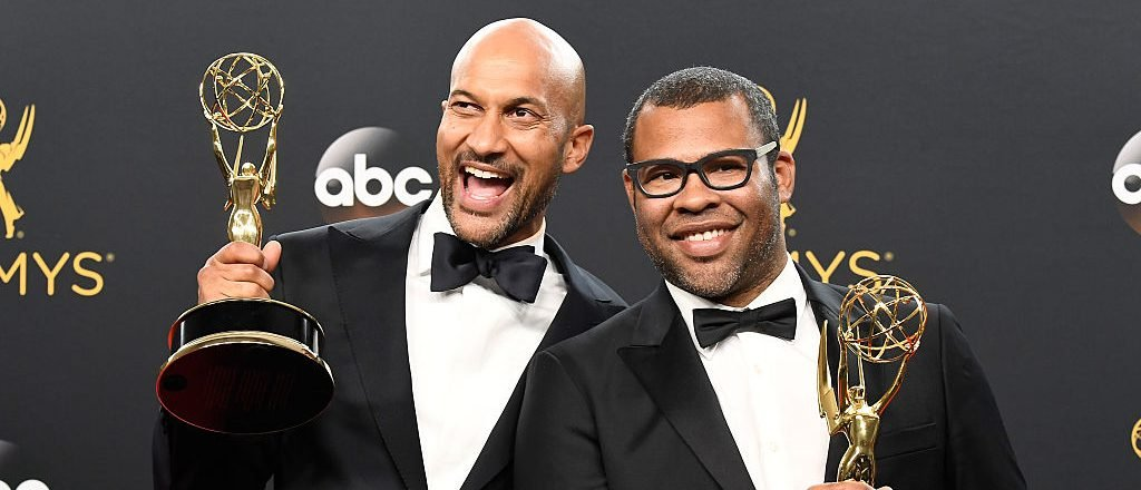 Key & Peele pose after winning an Emmy Award (Photo credit: Getty Images)