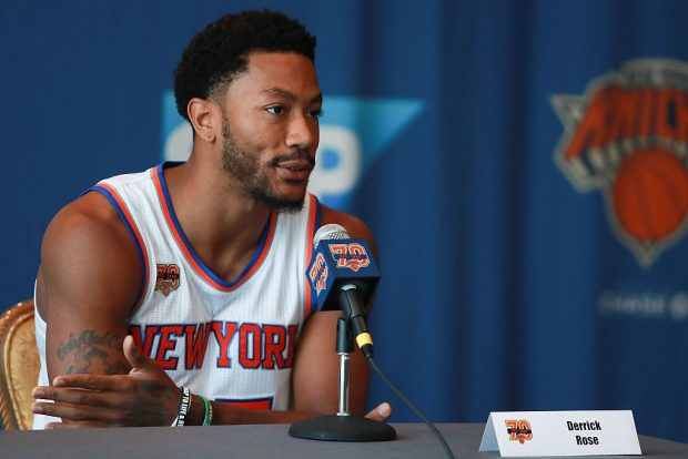 Derrick Rose #25 of the New York Knicks addresses the media during the New York Knicks Media Day at the Ritz Carlton on September 26, 2016 in White Plains, New York. (Photo by Michael Reaves/Getty Images)
