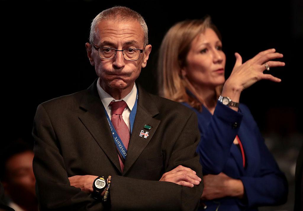 John Podesta looks on prior to the start of the Presidential Debate at Hofstra University on September 26, 2016 in Hempstead, New York. (Getty Images)