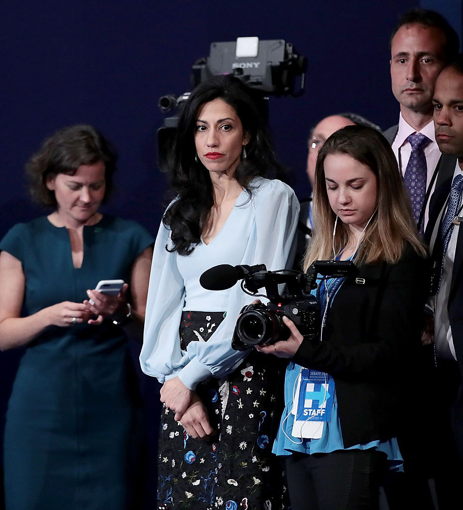 Huma Abedin waits during the Presidential Debate at Hofstra University on September 26, 2016 in Hempstead, New York. (Getty Images)