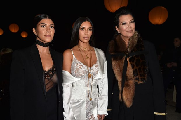 Kourtney Kardashian, Kim Kardashian and Kris Jenner attend the Givenchy show as part of the Paris Fashion Week Womenswear Spring/Summer 2017 on October 2, 2016 in Paris, France