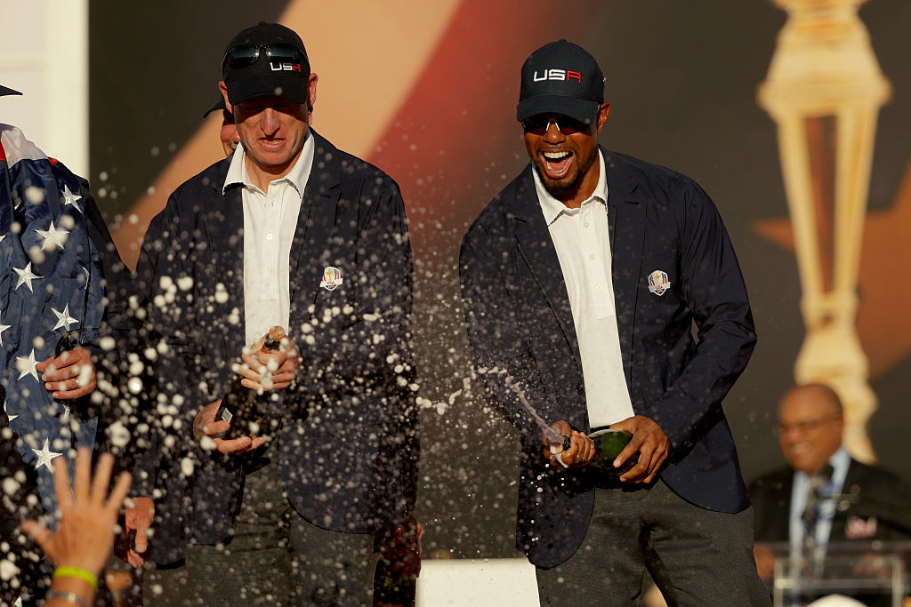 Tiger seemed to enjoy himself as a co-captain of the USA team in the Ryder Cup. (Photo by Streeter Lecka/Getty Images)