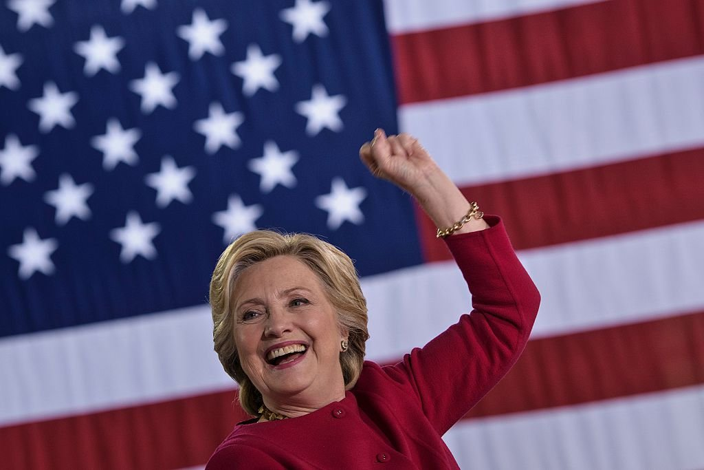 Hillary Clinton cheers during a town hall meeting October 4, 2016 in Haverford, Pennsylvania (Getty Images)