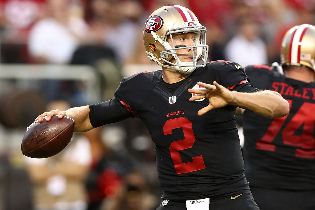 Blaine Gabbert is the starting quarterback for the 49ers. (Photo by Ezra Shaw/Getty Images)