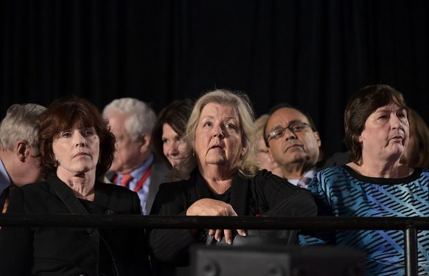 Bill Clinton accusers Kathleen Willey (L), Juanita Broaddrick (C) and rape victim Kathy Shelton are seated for the second presidential debate between Republican presidential nominee Donald Trump and Democratic contender Hillary Clinton at Washington University in St. Louis, Missouri on October 9, 2016
