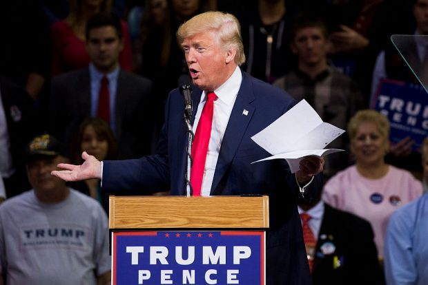 Republican presidential nominee Donald Trump speaks during a rally at Mohegan Sun Arena in Wilkes-Barre, Pennsylvania on October 10, 2016